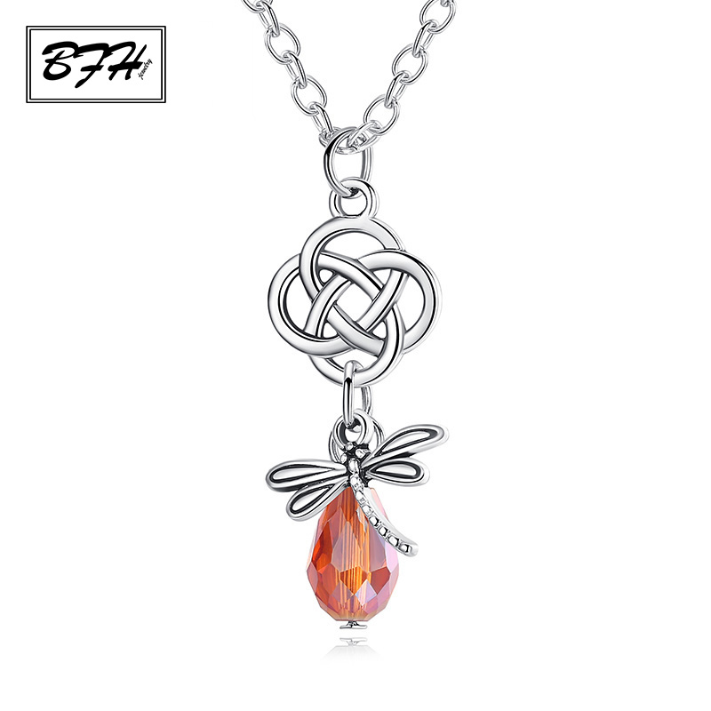 BFH Fashion Luxury Crystal Hollow Long Pendant Necklaces for Women Men Girl Party Charm Dragonfly Silver Necklace Jewelry Gift