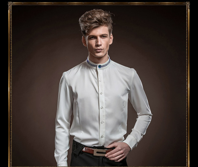 Free Shipping New fashion personality male Men's Court 2014 spring pure white dress long sleeved shirt 14223 custom-made