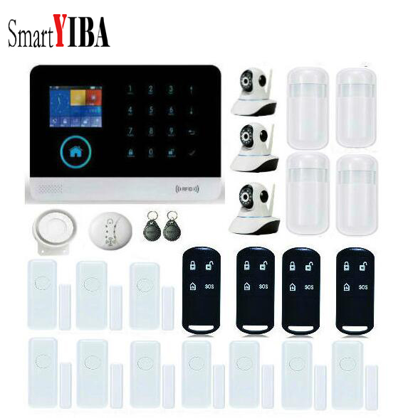 SmartYIBA Touch Screen LCD display home security Dual Network SIM SMS 2G GSM PIR Sensor Detector Door IP Camera Alarm System