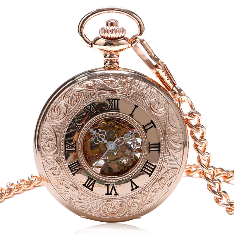 Rose Golden Mechanical Pocket Watch Women Steampunk Watches Relogio Feminino Gift for Women Ladies Watches