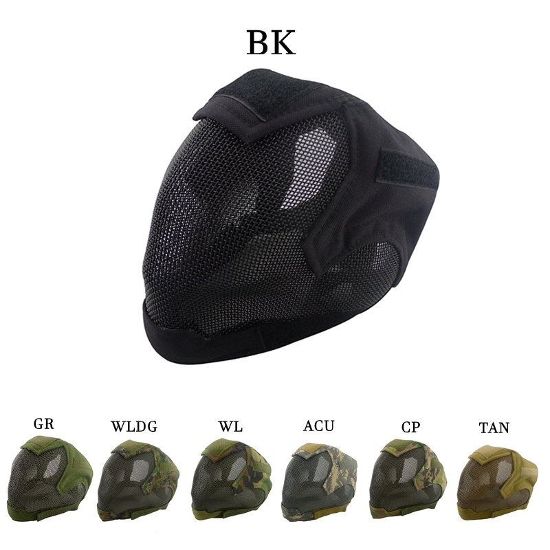 Military Airsoft Paintball Masks Tactical Steel Mesh Full Face Mask for Army Outdoor Paintball Accessories