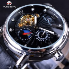 Forsining Fashion Toubillion Design Swirl Dial Luminous Luxury Moon Phase Men Watches Top Brand Luxury Automatic Watch Clock Men