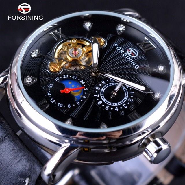 Forsining Mode Toubillion Ontwerp Swirl Wijzerplaat Lichtgevende Luxe Maanfase Mannen Horloges Topmerk Luxe Automatische Horloge Klok Mannen