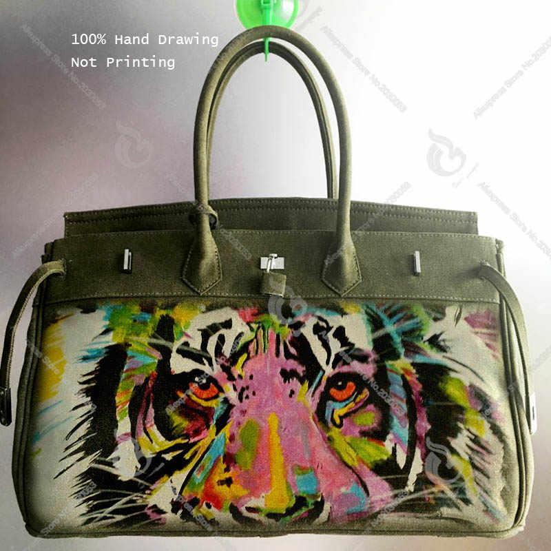 1fcc76218659 Canvas HandBag Art Hand printing Graffiti Colors Tiger Design Luxury Bolsa  Feminina Designer Handbag Women Men