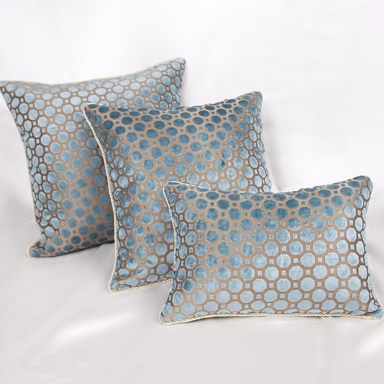Blue Geometric Luxury Velvet Pillow Cover Jacquard