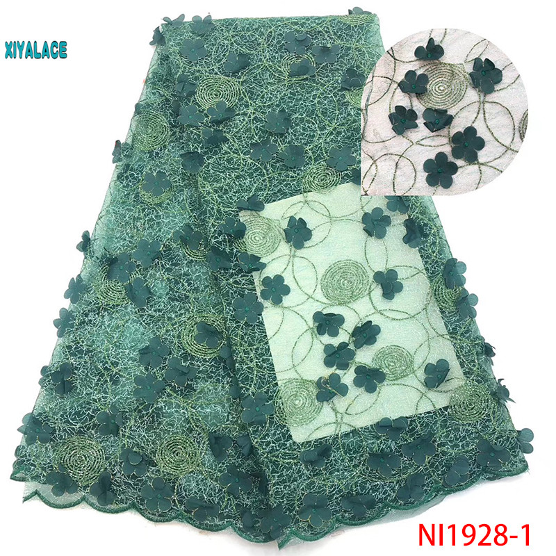 Green African Lace Fabric 2019 High Quality Lace 3D Flowers Tullle Lace Fabric French Beads Lace Fabric Party Beads YANI1928-1
