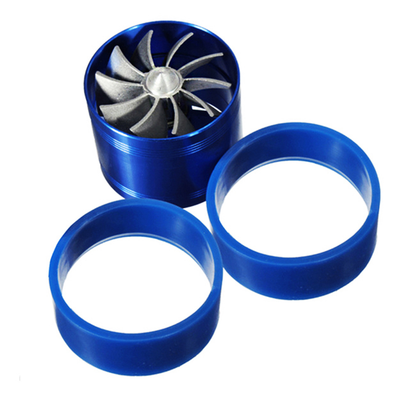 Car Styling Turbo Air Intake Gas Fuel Saver Fan Turbo Supercharger Universal Turbine Turbo Air Intake Blue