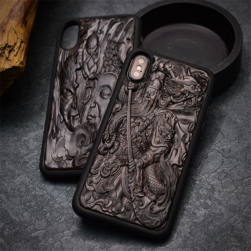 Case For iPhone XR X XS Max ebony Black wood 3D Stereo Emboss Carved Wooden TPU Back Cover Case For iPhone 6 6s 7 8 plus (7)