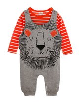 2 Pcs Long Sleeve T Shirt Cartoon Lion Baby Jumpsuits
