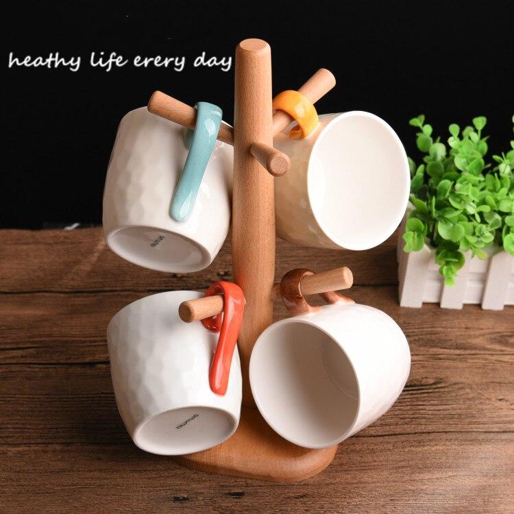 4 шт. кружка костюм новый свежий искусство и творческие керамика для внутреннего деревянная рамка прекрасная пара стакана воды кофейная кру... - 2