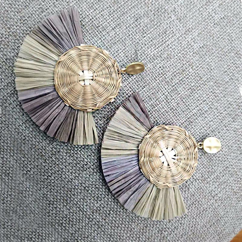 Jewelry & Accessories Xiyanike Fashion Round Straw Sector Tassel Earrings For Women Rattan Dangle Drop Earrings Ethnic Colorful Party Jewelry E1003 Excellent Quality