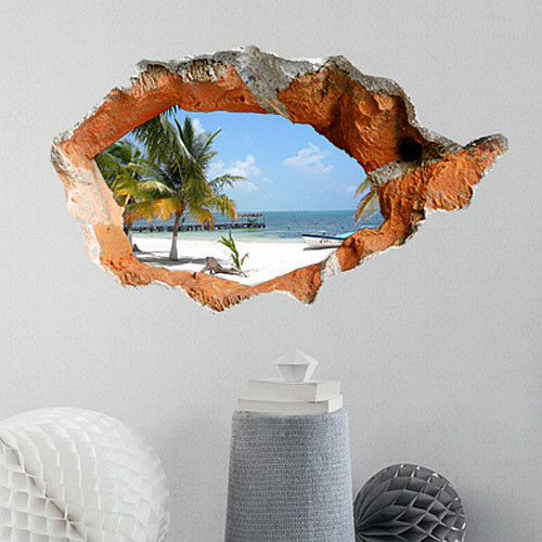 2015 New Wall stickers home decor 3D Sandy beach Special effect Wallpaper Decal for  Living room bedroom Wall Decoration sticker