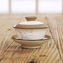 130 мл ручная роспись керамический гайвань Орхидея/корень лотоса чайные наборы кунг-фу высокое качество чайная супница Coverbowl чашки глина Sancai чайная чаша