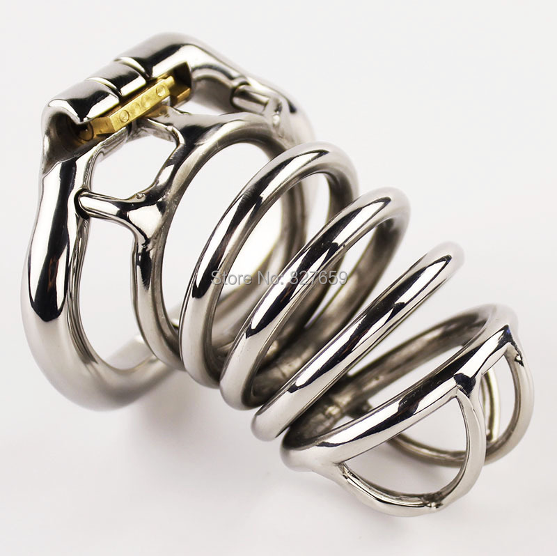 Stainless Steel Male Chastity Device 80mm Cock Cage Penis Lock BDSM Sex Toys For Men Chastity BeltStainless Steel Male Chastity Device 80mm Cock Cage Penis Lock BDSM Sex Toys For Men Chastity Belt