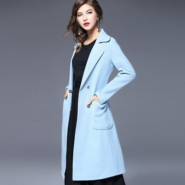Lichtblauwe Winterjas.Nieuwe Klassieke Vrouwen Wol Blends Jas Effen Lichtblauw Kleur