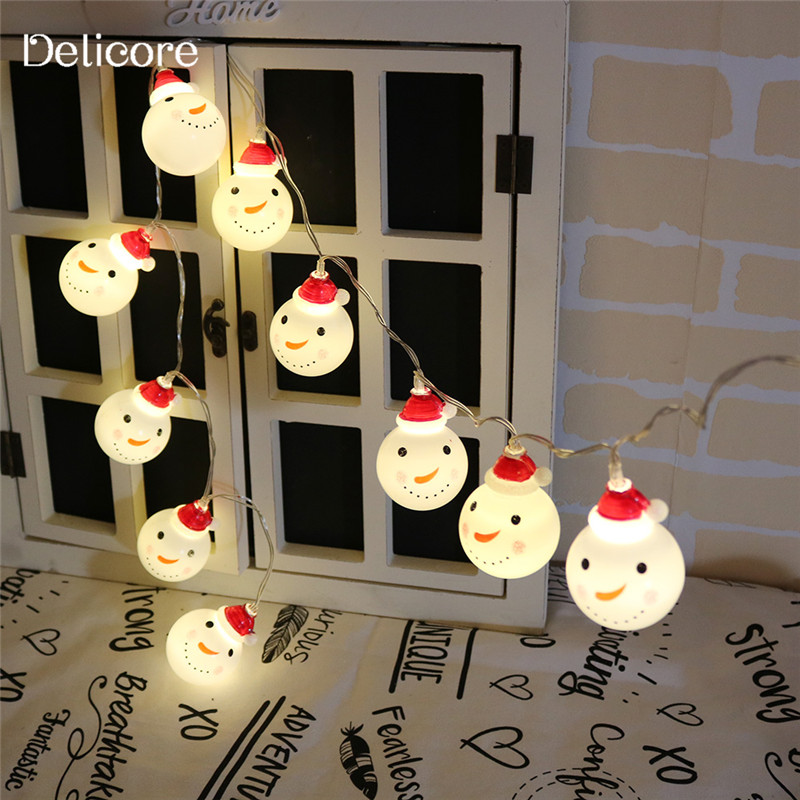DELICORE Decorative Christmas Cute 10 String Battery LED Light Snowman Fairy Indoor Ligh ...