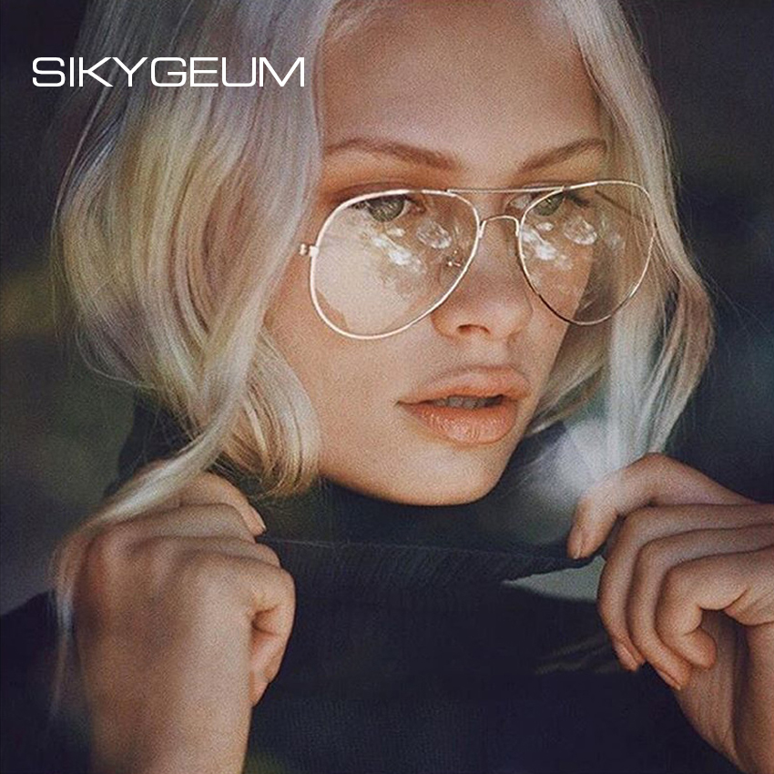 b3bfb32c043 SIKYGEUM Retro Aviation Clear Glasses Goggle Women Men Brand Fashion Big  Metal Spectacle Glasses Frame Protection Eyewear S0353