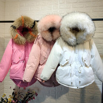 Hot Sale Women Winter Down Jacket 2018 New Thicken Slim Short White Duck Down Coat Female Natural Fur Parka Hooded Outerwear