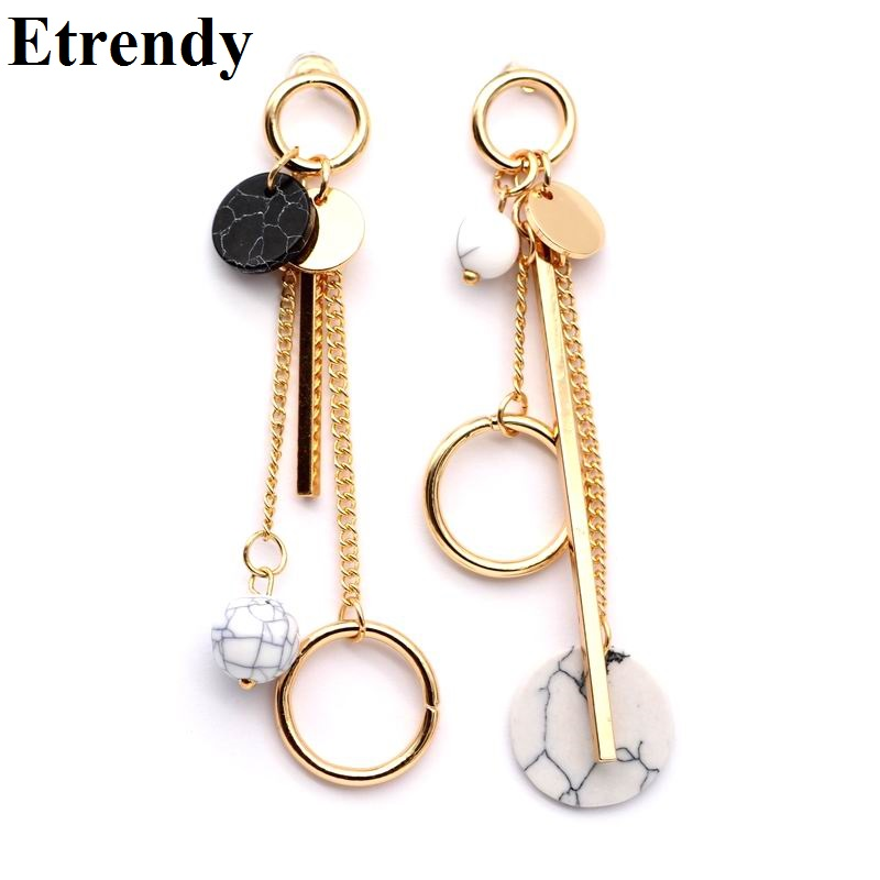 Trendy Ab Design Marble Long Earrings For Women 2018 Round Circle Fashion Jewelry Wholesale Cute Gift