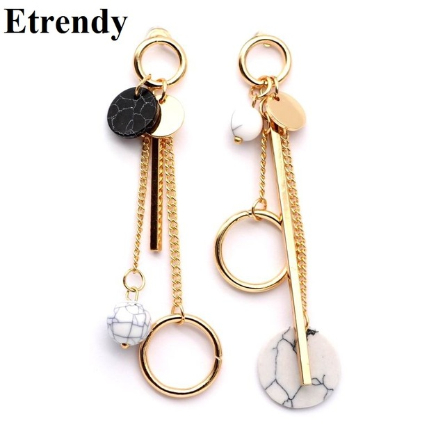 Trendy Ab Design Marble Long Earrings For Women 2019 Round Circle Fashion Jewelry Wholesale Cute Gift
