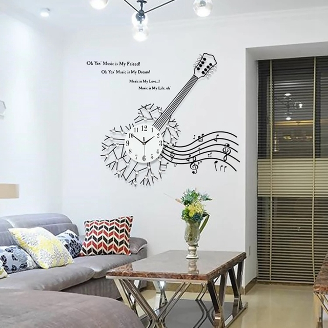 Big Wall Clocks For Living Room Small Contemporary Design Ideas 3d Clock 34pcs Diamonds Modern Large Watches Decorative Wrought Iron Silent Guitar
