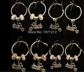 10 pair  Free shipping  Fashions Tibetan silver Motorcycle Hoop Earring with  Charm  Crystal Beads  Women DIY Jewelry A131