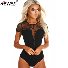 ADEWEL 2019 New Sexy short Sleeve Bodysuit Women O Neck Lace Ladies One Piece Body Tops Teddy Clubwear Sheer Bodysuits