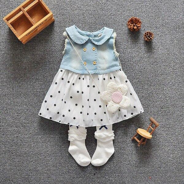 Девочка малыш джинсовый топ без рукавов платье принцессы тюль туту платье мини 853