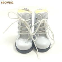 "BEIOUFENG זוג אחד 1/6 BJD בובה נעליים עבור בובות בד, נעלי התעמלות סיבתי נעליים 5 ס""מ PU עור בובות מגפיים עבור בובות"