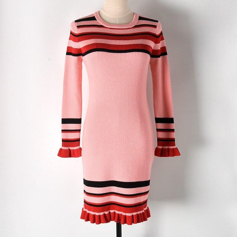 Contraste Couleur Rayé Ruches Hem Chandail robe pour femmes D'hiver D'o-Cou robe à manches longues Doux Genou Longueur Tricot robe moulante rose