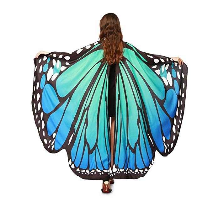 Women Belly Wings Blue Butterfly Egypt Dance Costume Performance Prop Colorful No Sticks Dance Wear Accessory