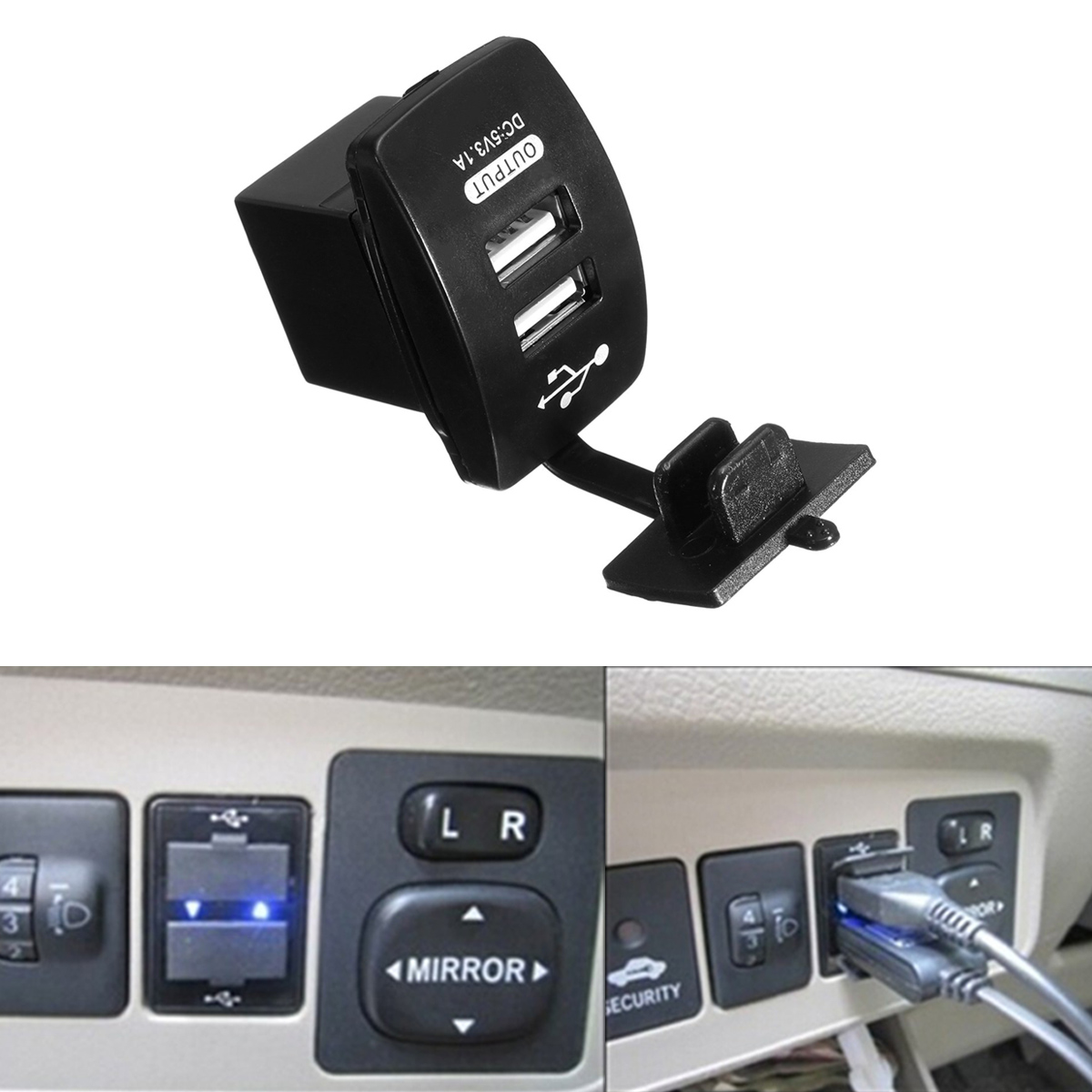 Universal Motorcycle Dual USB Car Cigarette Lighter Socket Charger Power Adapter Splitter 12V 1A 2.1A Waterproof