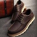 2016 Nueva Moda de Otoño de Los Hombres de Los Zapatos Masculinos de Herramientas de Alta Calidad de Cuero Partido Zapatos Del Barco 3 Colores Marrón Café Negro