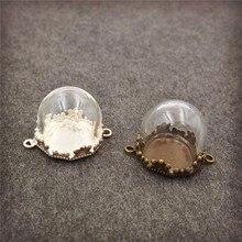 20sets/lot 15mm half of glass globe with base set vial pendant fashion necklace