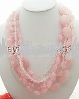 xiuli 001315 Stunning! 6Strds Pink Quartz&Crystal Necklace