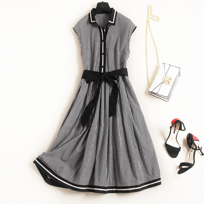 Здесь продается  Cotton plaid sleeveless a line dress 2018 new runway women summer dress high quality office lady preppy style long dress  Одежда и аксессуары