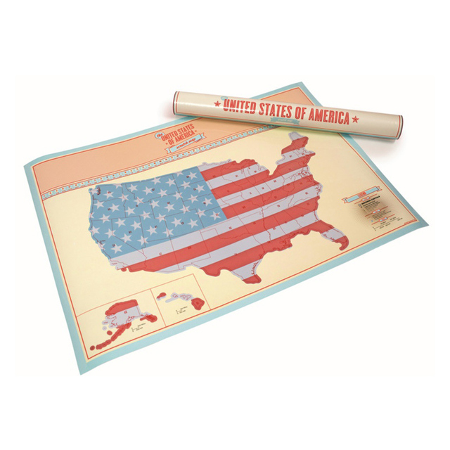 USA Scratch Map Of American Country Map Packed In Card Tube - Usa country map
