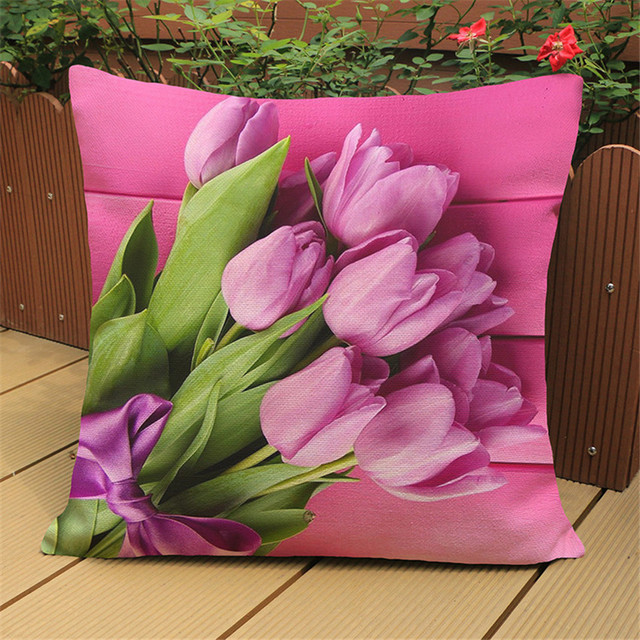 Modern Country Style Pink Flower Tulip Linen Cotton Cushion Cover Decorative Sofa Car Chair Pillow Case Textile