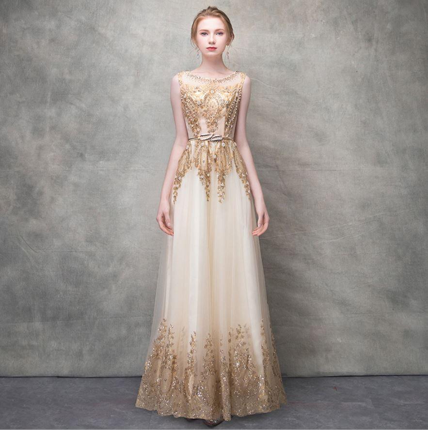 Vestido boda mujer invitada new Scoop neck lace sequins see champagne gold bridesmaid dress long vestido madrinha plus size