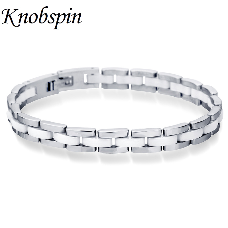 2018 New 8MM Titanium Steel Ceramic Bracelet Jewelry Gifts Trendy White Arm Ceramic Bracelet for Women Men pulseira masculina trendy top white ceramic bracelet elegant star health care titanium bracelets