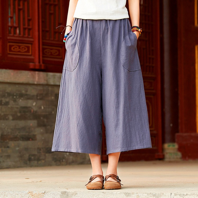 ORIGOODS Elastic Waist Women Wide leg   Pants   Vintage Casual Summer   Pants   Solid Women Wide leg Trousers   Capris     Pants   Femme B210