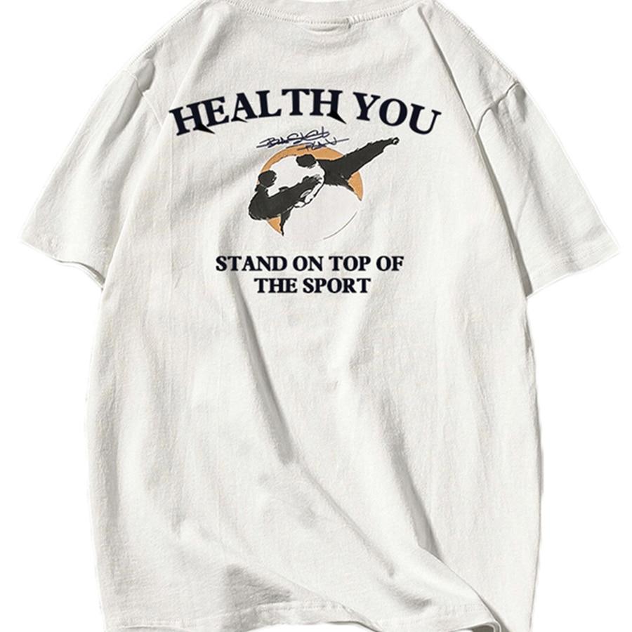 2018 Blanc Coton T-shirt Hommes Animal D'été Harajuku Panda Vêtements Drôle t-Shirt Hommes Streetwear Corée Du Sud Vêtements Russie T0206
