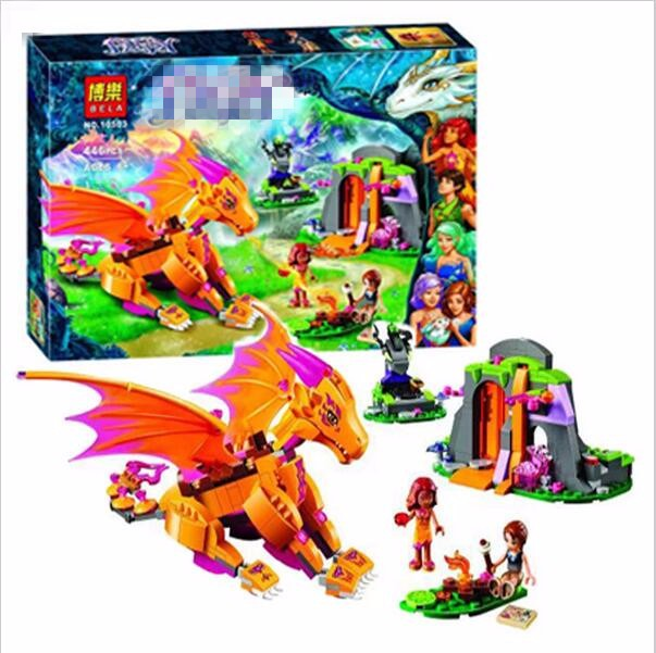 2016 NEW Bela 10503 Elves Fire Dragon s Lava Cave 446pcs set font b Legoed b