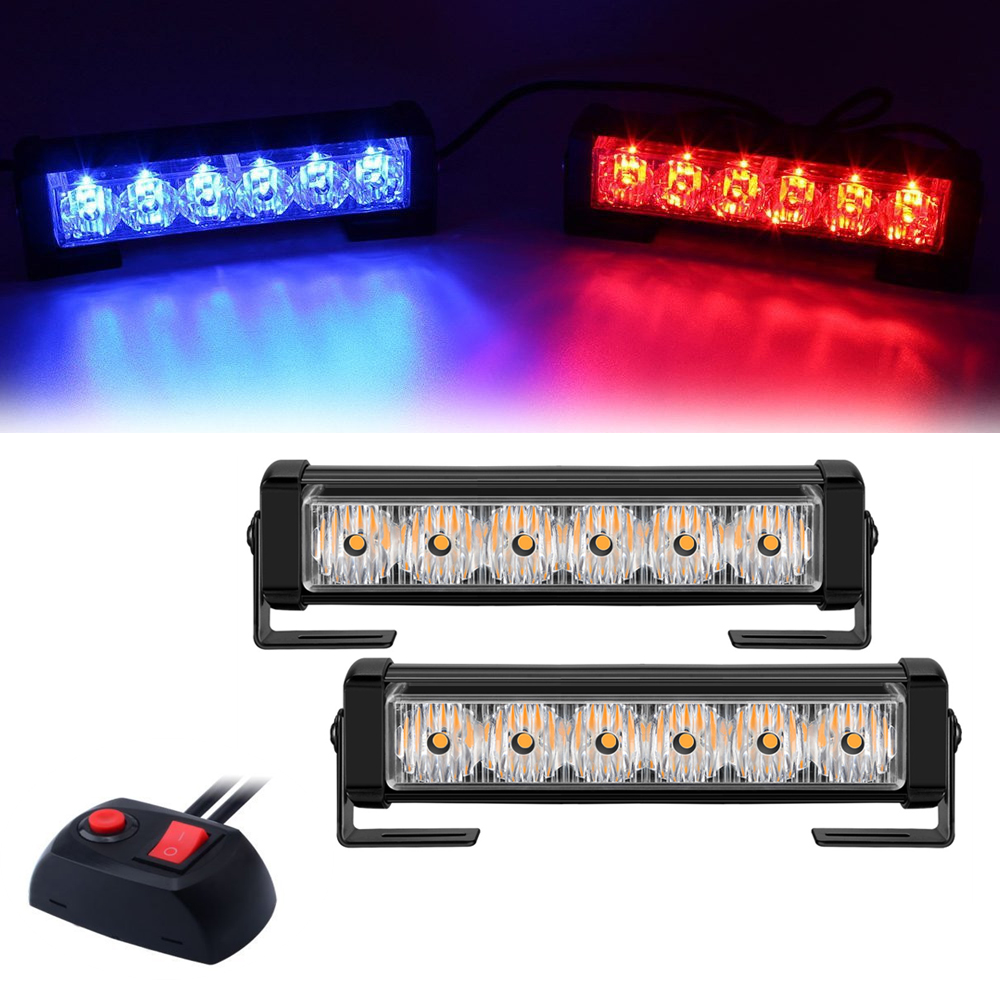 12V LED Traffic Signal Emergency Warning Flashing Light Police Vehicle Car Strobe Lights Auto Front Grille Flash Lamp Bar