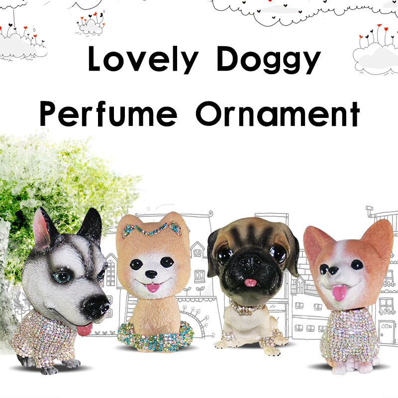 Crystal Diamond Doggy Ornament Perfume Auto Air Freshener Diamond Cute Decoration Car Air Refreshing Agent Women Girls ff063 refreshing fragrance fruits hour air freshener for car auto lemon scent