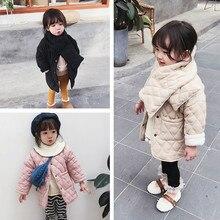 בנות חורף אופנה פליס לעבות יחיד חזה ארוך מעילים עם מטפחת ילדים חם ארוך מעילים להאריך ימים יותר בגדים