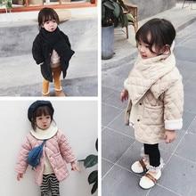 Girls Winter fashion polar fleece thicken single breasted long coats with neckerchief kids warm long jackets outwear clothing