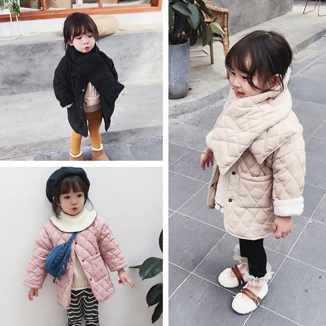 สาวแฟชั่นฤดูหนาวPolar Fleece Thicken Single Breastedเสื้อโค้ทยาวพร้อมNeckerchiefเด็กอบอุ่นเสื้อแจ็คเก็ตยาวOutwearเสื้อผ้า