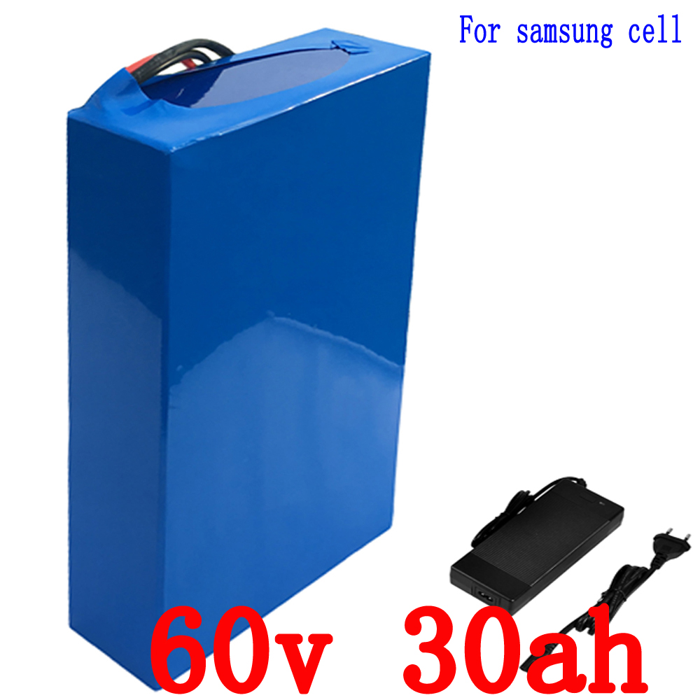 Lithium Battery 60V 30AH Electric Bicycle Scooter 60V 2000W use for samsung cell e-bike Lithium battery pack with 2A charger economic multifunction 60v 500w three wheel electric scooter handicapped e scooter with powerful motor