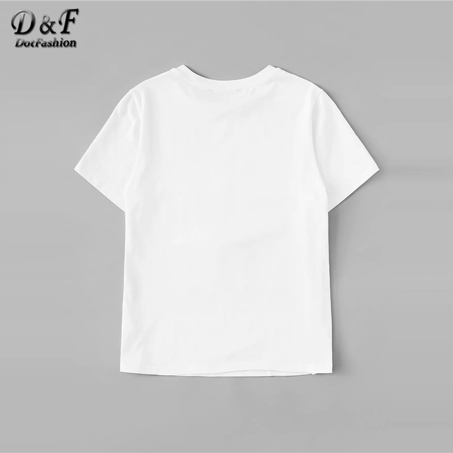 White Bow Front Sequin Detail Figure Print Streetwear Tee  1